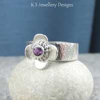 Amethyst Sterling Silver Gemstone Blossom Ring - READY TO SHIP size M size 6.25