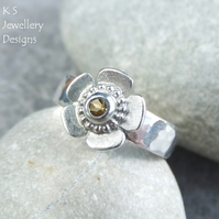 Citrine Sterling Silver Buttercup Gemstone Ring - READY TO SHIP size N.5 size 7