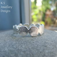 Stepping Stones Fine Silver & Sterling Silver Textured Ring - Organic Metalwork
