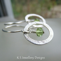 Peridot Sterling Silver Textured Circle Earrings - Gemstone Metalwork
