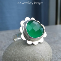 Green Chalcedony Sterling Silver Cloud Ring - Gemstone Ring - Size M - Size 6.25