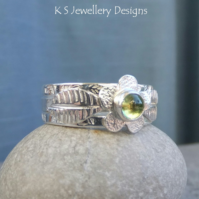 Peridot Flower and Leaves Sterling & Fine Silver Ring Trio with 2 Stacking Rings