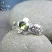 Peridot Flower and Leaves Sterling & Fine Silver Ring - Gemstone Stacking Ring