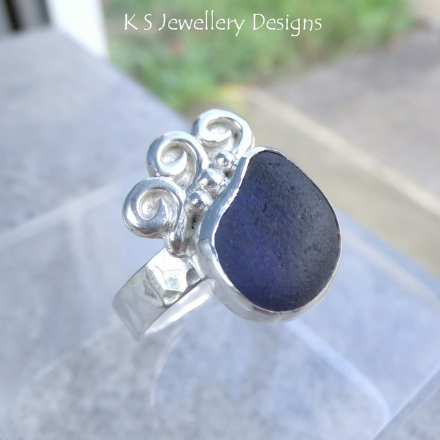 Blue Waves - Sterling Silver Sea Glass Ring - Handmade Metalwork Jewellery