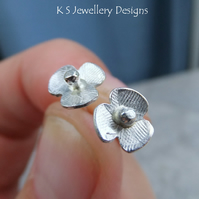 Sterling Silver Stud Earrings - Rustic Poppies Poppy Flowers Textured Distressed