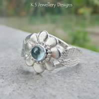 Blue Topaz Flower and Leaves Sterling & Fine Silver Ring - Gemstone Ring