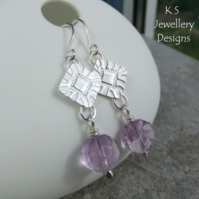 Amethyst Stamped Squares Sterling Silver Earrings - Handmade Hand Stamped