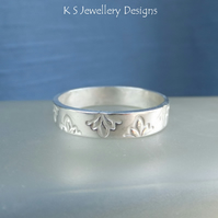 Sterling Silver Textured Wide Band Ring - PETALS - Handmade Metalwork Jewellery
