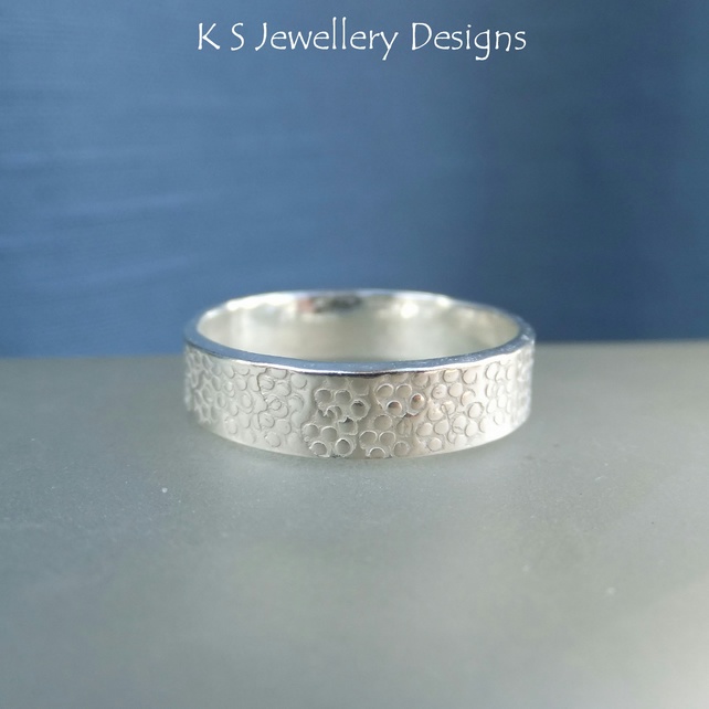 Sterling Silver Textured Wide Band Ring - BUBBLES - Handmade Metalwork Jewellery