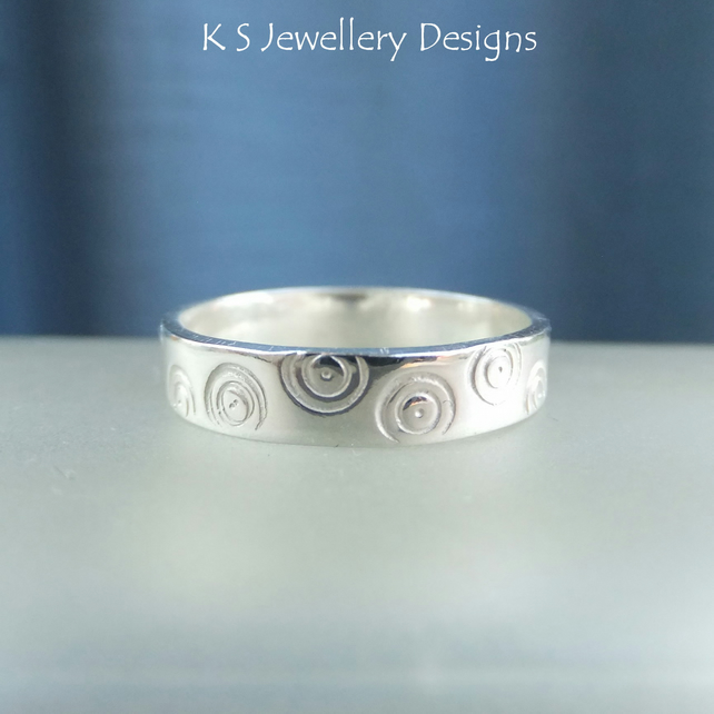 Sterling Silver Textured Wide Band Ring - CIRCLES - Handmade Metalwork Jewellery