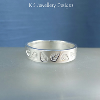 Sterling Silver Textured Wide Band Ring - LEAVES - Handmade Metalwork Jewellery