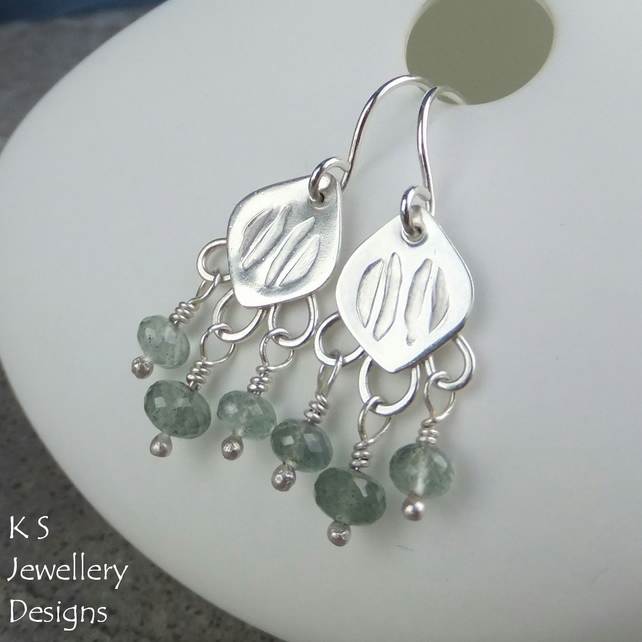 Moss Aquamarine Stamped Drops Sterling Silver Earrings - Handmade Chandelier