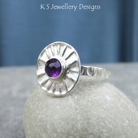 Amethyst Sterling & Fine Silver Sunburst Ring - READY TO SHIP size N.5 size 7