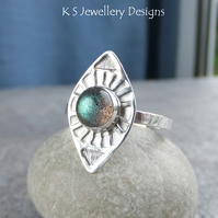 Labradorite Sterling & Fine Silver Sunburst Ring READY TO SHIP size N size 6.75