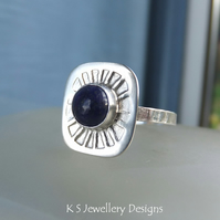 Lapis Lazuli Sterling & Fine Silver Sunburst Ring READY TO SHIP size O size 7.25
