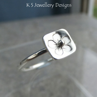 Stamped Flower Square Sterling & Fine Silver Ring v1 Stackable Shiny or Oxidised