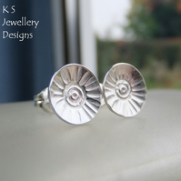 Sterling Silver Stud Earrings - Rustic Flower Discs (Daisy 1) Textured Metalwork