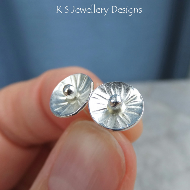 Sterling Silver Stud Earrings - Rustic Flower Discs (Daisy 3) Textured Metalwork