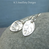 Sterling Silver Stamped Leaf Earrings - Handmade Handstamped Metalwork Leaves