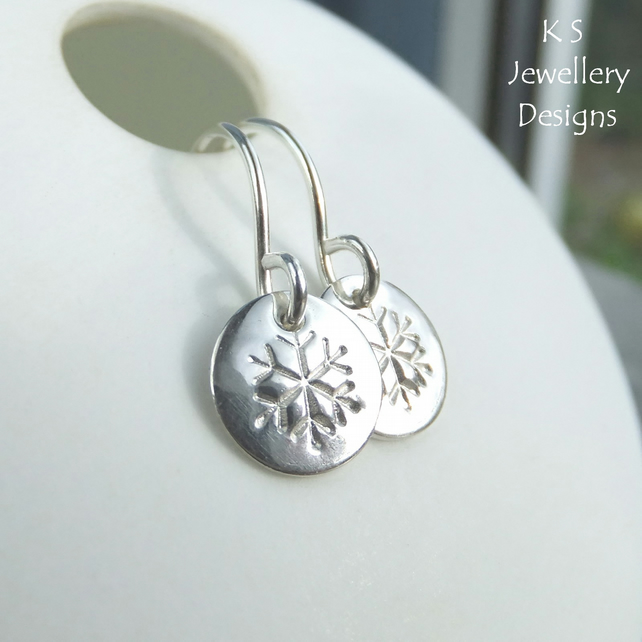 Snowflake Sterling Silver Shiny Disc Earrings - Hand Stamped Metalwork Jewellery