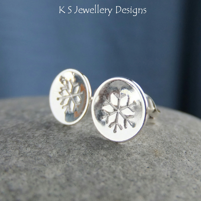 Snowflake Sterling Silver Shiny Stud Earrings - Hand Stamped Metalwork Jewellery