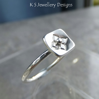 Stamped Flower Square Sterling & Fine Silver Ring v3 Stackable Shiny or Oxidised