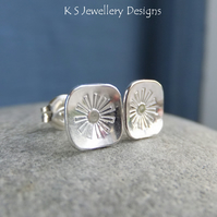 Sterling Silver Stud Earrings - Stamped Flower Squares 3 - Handmade Textured