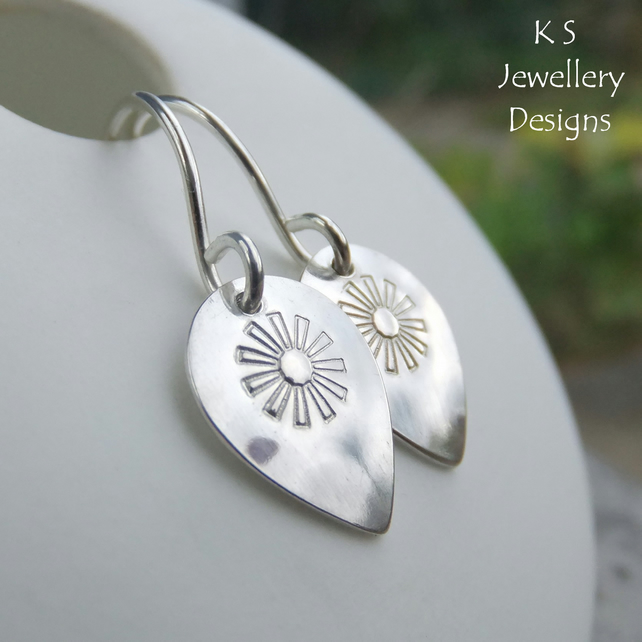 Stamped Flower Drops Sterling Silver Earrings - Shiny Metalwork Jewellery