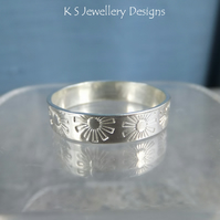 Sterling Silver Textured Wide Band Ring - FLOWERS - Handmade Metalwork Jewellery