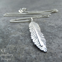 Sterling Silver Feather Pendant - Handmade Hand Stamped Textured Metalwork