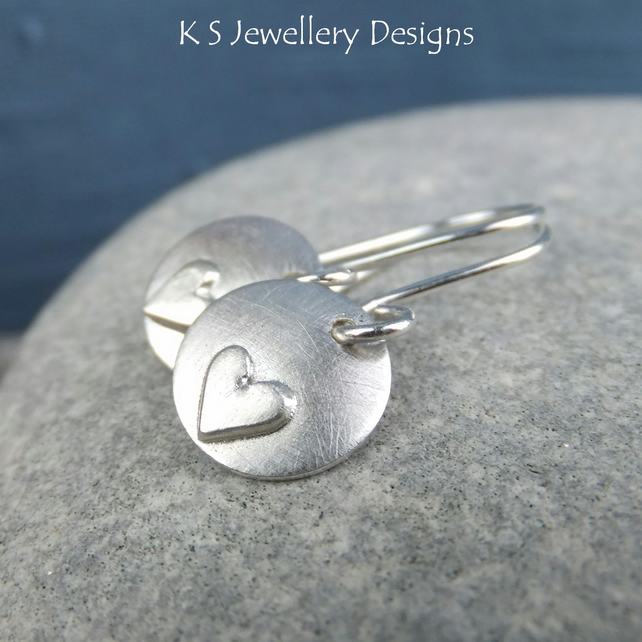 Sterling Silver Heart Disc Charm Earrings - Rustic Hearts - Handmade Metalwork