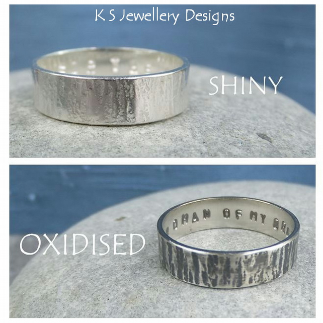 Sterling Silver Unisex Ring - Bark Texture - Personalised - Shiny or Oxidised