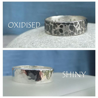 Sterling Silver Unisex Ring - Dappled Texture - Personalised - Oxidised or Shiny