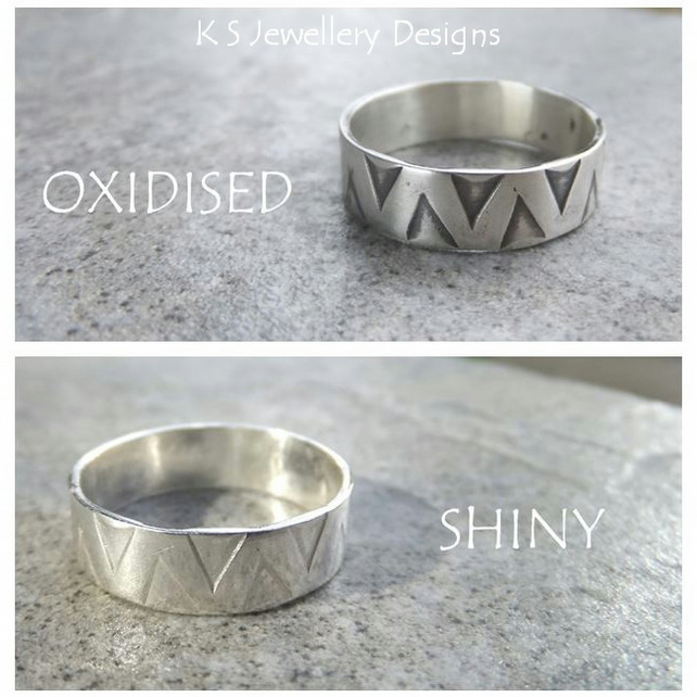 Sterling Silver Unisex Ring - Zigzag Texture - Oxidised or Shiny - Wide Band