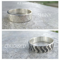 Sterling Silver Unisex Ring - Squiggle Texture - Shiny or Oxidised - Wide Band