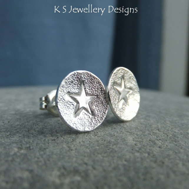 Sterling Silver Star Stud Earrings - Hand Stamped Metalwork Jewellery