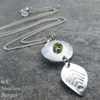 Peridot Pine Forest Disc & Leaf Pendant - Hand Stamped Metalwork Gemstone