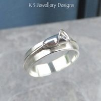 Calla Lily Sterling Silver Ring - Handmade Metalwork - Wide Band Flower Ring