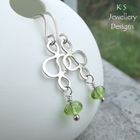 Peridot Sterling Silver Squiggle Earrings - Gemstone Metalwork