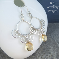 Citrine Sterling Silver Earrings - Ornate Framed Circles - Handmade Wirework