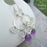Amethyst Sterling Silver Earrings - Ornate Framed Circles - Handmade Wirework
