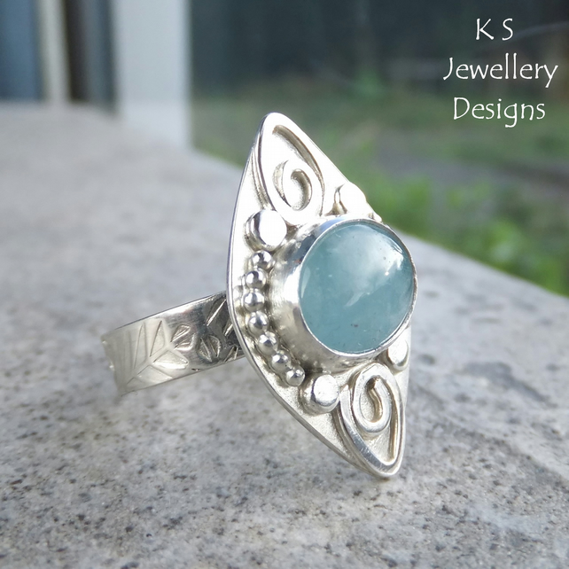 Aquamarine Embellished Sterling Silver Ring - One of a Kind Statement Metalwork
