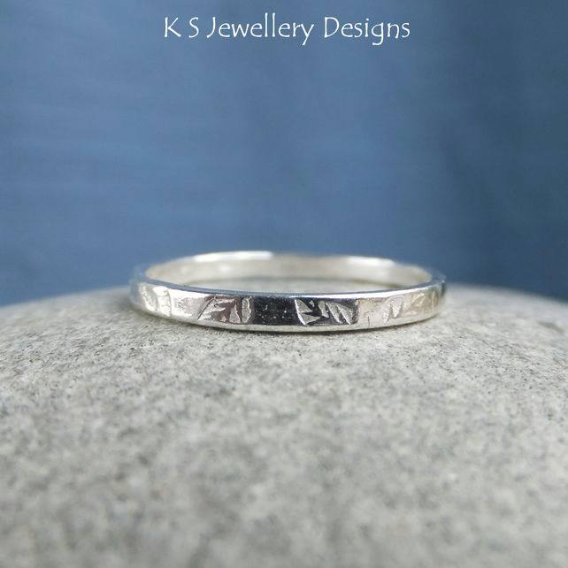 Fine Silver Stacking 2mm Ring - LEAF - Handmade Textured Metalwork Jewellery
