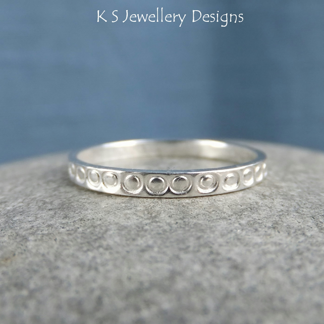 Fine Silver Stacking 2mm Ring - LITTLE CIRCLES - Handmade Textured Metalwork