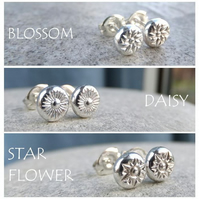 Sterling Silver Flower Pebble Stud Earrings - Blossom, Daisy or Star Flower