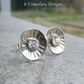 Fine Silver Sterling Silver Stud Earrings - Rustic Daisy Discs -Textured Flowers