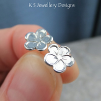 Little Flowers Studs - Fine Silver Sterling Silver Flower Stud Earrings