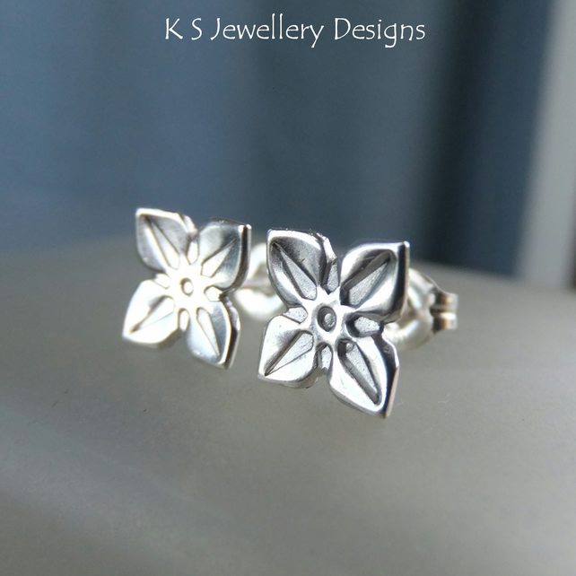 Sterling Silver Stud Earrings - Four Petal Flowers 2 - Hand Stamped Metalwork