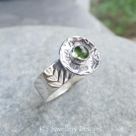 Green Tourmaline Sterling Silver Forest Leaf Textured Wide Band Ring - UK size M