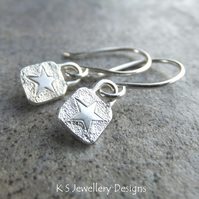 Stamped Star Sterling Silver Square Earrings - Handmade Textured Metalwork